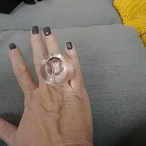 Jewelry - Clear lucite statement ring; size 7
